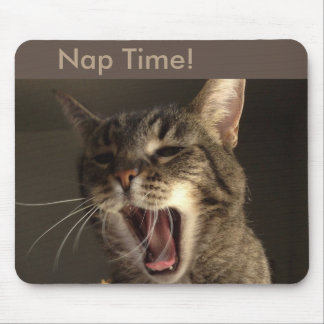 Nap Time for Yawning Cat Mouse Pad