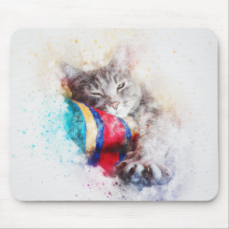 Nap Time Kitty | Abstract | Watercolor Mouse Pad