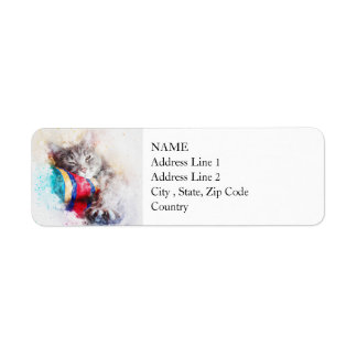 Nap Time Kitty | Abstract | Watercolor Return Address Label