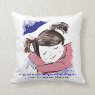 Nap Time-Little Girl-Funny Saying Cushion