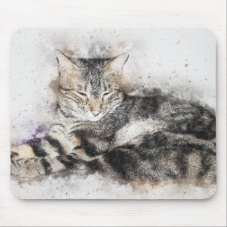 Nap Time Tabby | Abstract | Watercolor Mouse Pad