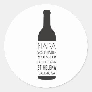 Napa Valley Cities Wine Bottle Classic Round Sticker