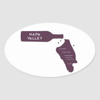 Napa Valley Cities Wine Bottle Spill Logo Oval Sticker
