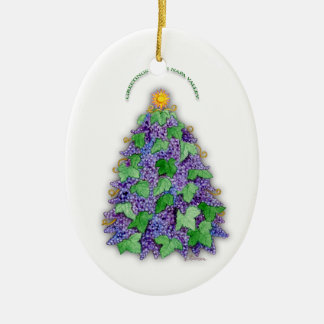 Napa Valley Grapes Christmas Tree Ceramic Ornament