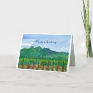 Napa Valley Vineyard Watercolor Happy Birthday Card