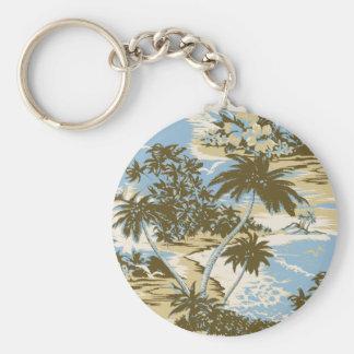Napili Bay Vintage Hawaiian Keyrings Basic Round Button Key Ring