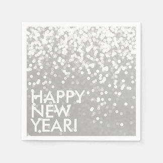 Napkin - Sparkling Happy New Year Silver Disposable Serviette