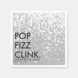 Napkin - Sparkling Pop Fizz Clink Silver Paper Napkin