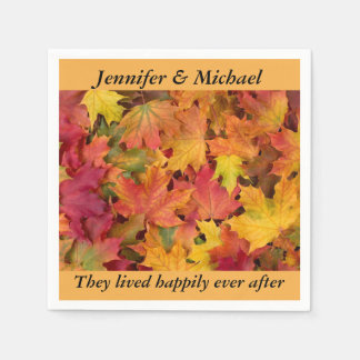 Napkin Wedding Reception Personalize Fall Leaves Disposable Napkin