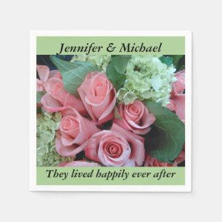 Napkin Wedding Reception Personalize Pink Roses Disposable Serviette