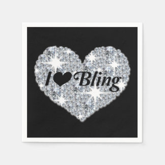 Napkins Featuring I love Bling Design Disposable Napkin