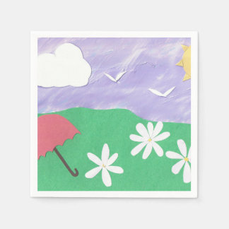 Napkins with an Outdoor Scene of Grass and Daisies Disposable Napkin