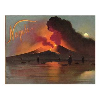 Naples, 1908, Vesuvius and the Bay of Naples Postcard