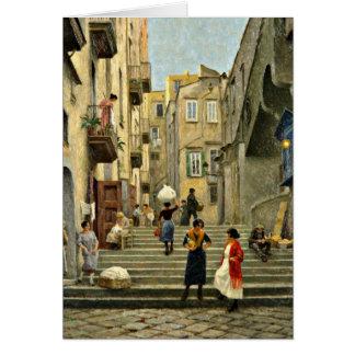 Naples Street Scene - Paul G. Fischer painting Card