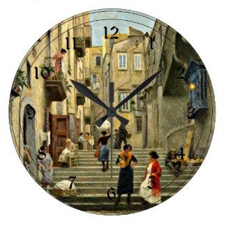 Naples Street Scene - Paul G. Fischer painting Large Clock