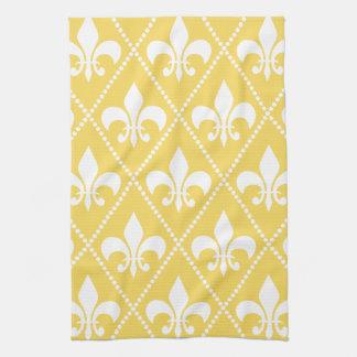 Naples Yellow Fleur de Lis Tea Towel