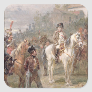 Napoleon and his Troops oil on panel pair of 12 Square Stickers