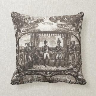 Napoleon Bonaparte and Tsar Alexander I at Tilsit Throw Pillow