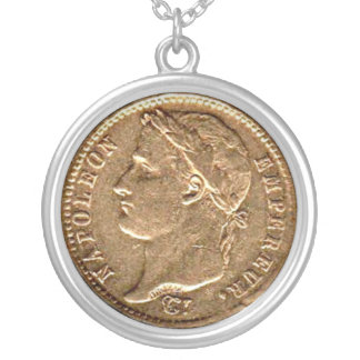 Napoleon Empereur Gold Coin Silver Plated Necklace
