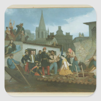 Napoleon III  Visiting Flood Victims of Square Sticker