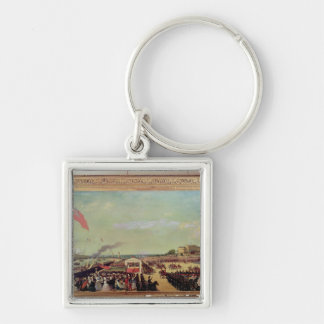 Napoleon III  Welcoming Queen Victoria Silver-Colored Square Key Ring