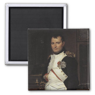 Napoleon in his Study by Jacques Louis David Square Magnet