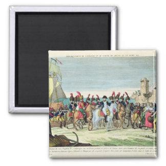 Napoleon  Leaving for Golf Juan, 1st March 1815 Square Magnet