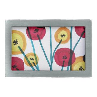 Nappen blomster med sommerfugler rectangular belt buckle
