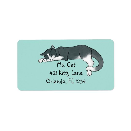 Napping Kitty Label