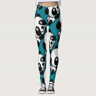 Napping Smiling Panda Baby on Teal Background Leggings