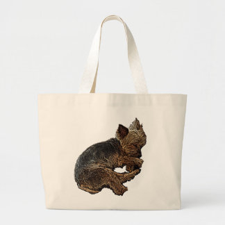 Napping Yorkie Large Tote Bag