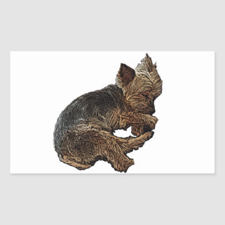Napping Yorkie Rectangular Sticker