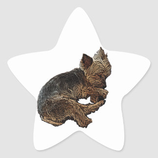 Napping Yorkie Star Sticker