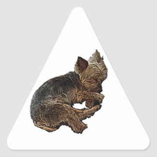 Napping Yorkie Triangle Sticker