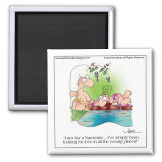 NARCISSIST WOMAN Cartoon Magnet by April McCallum