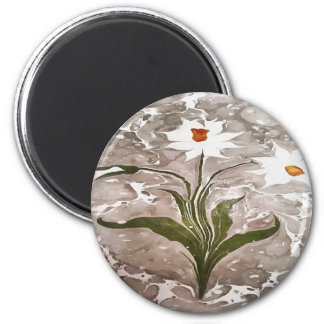 Narcissus On Marble 6 Cm Round Magnet