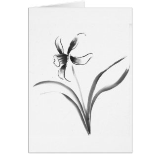 Narcissus, Sumi-e flower Card