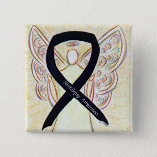 Narcolepsy Awareness Angel Black Ribbon Art Pins