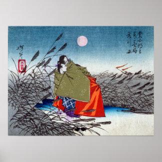 Narihira and Nijo no Tsubone at the Fuji River Poster