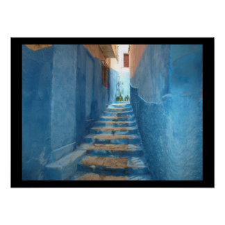Narrow Blue Stairway in Morocco Poster