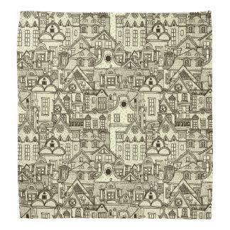 Narrow city houses sketchy illustration pattern bandana