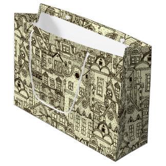 Narrow city houses sketchy illustration pattern large gift bag