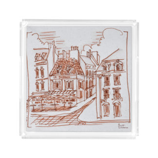 Narrow Streets of Saint-Omer, France Acrylic Tray