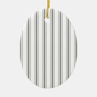 Narrow Stripe Charcoal Gray White Mattress Ticking Ceramic Ornament