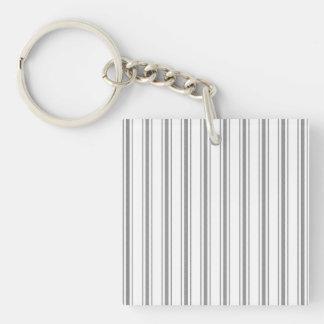 Narrow Stripe Charcoal Gray White Mattress Ticking Key Ring