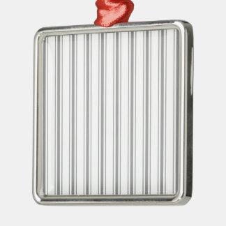 Narrow Stripe Charcoal Gray White Mattress Ticking Metal Ornament
