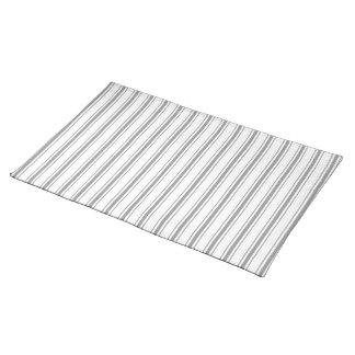 Narrow Stripe Charcoal Gray White Mattress Ticking Placemat