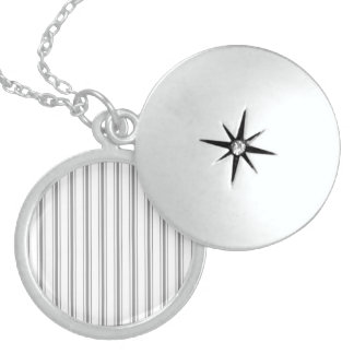 Narrow Stripe Charcoal Grey White Mattress Ticking Sterling Silver Necklace