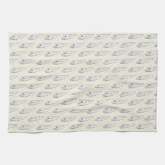 Narrowboat pattern by whacky teatowel tea towel