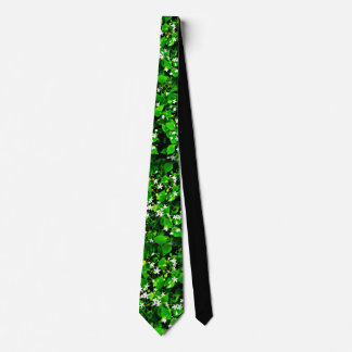 Narture lover's green leaves & white flowers tie